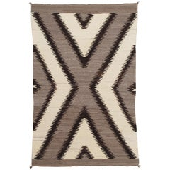Antique Navajo Rug, Handmade Wool Oriental Rug, Gray, Ivory and Dark Brown