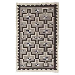 Antique Navajo Rug, Handmade Wool Oriental Rug, Gray, Ivory, Blue and Brown