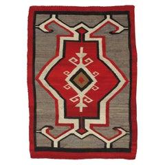 Antique Navajo Rug, Handmade Wool Oriental Rug, Red, Beige and Brown