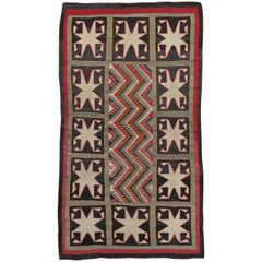 Antique Navajo Rug, Handmade Wool Oriental Rug, Red, Beige and Brown