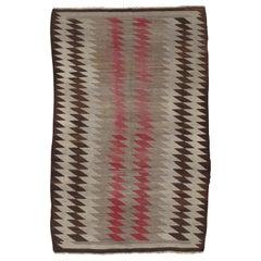 Antique Navajo Rug, Handmade Wool Oriental Rug, Taupe, Beige and Brown