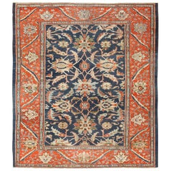 Antique Navy Background Persian Sultanabad Rug. Size: 8 ft 5 in x 9 ft 10 in