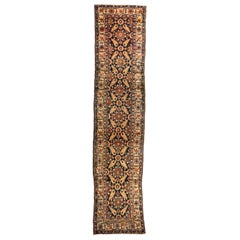 Antique Navy Blue and Brown Northwest Persian Runner Rug circa 1880-1900