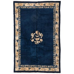 Antique Navy Blue and Gold Floral Peking Chinese Rug with Koi circa 1920-1930s