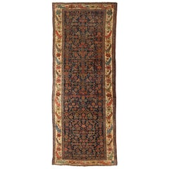 Antique Navy Blue and Ivory Tribal Persian Bijar Runner Rug circa 1900