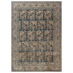 Antique Navy Blue Background Floral Persian Tabriz Handmade Wool Rug