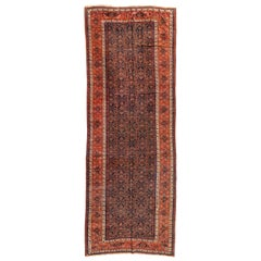 Antique Navy Blue Brown Rust and Gold Geometric Persian Farahan Rug, circa 1930s