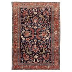 Antique Navy Blue Serapi Persian Handmade Wool Rug