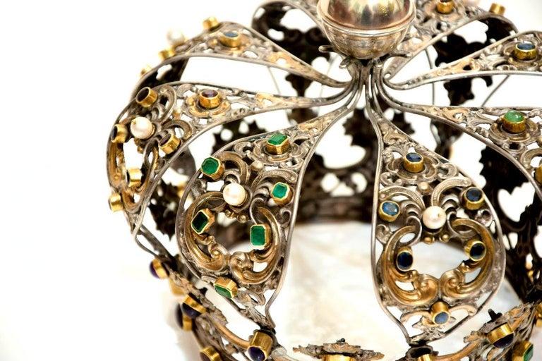 Italian Antique Neapolitan Crown, Handmade in Italy, 18th Century For Sale