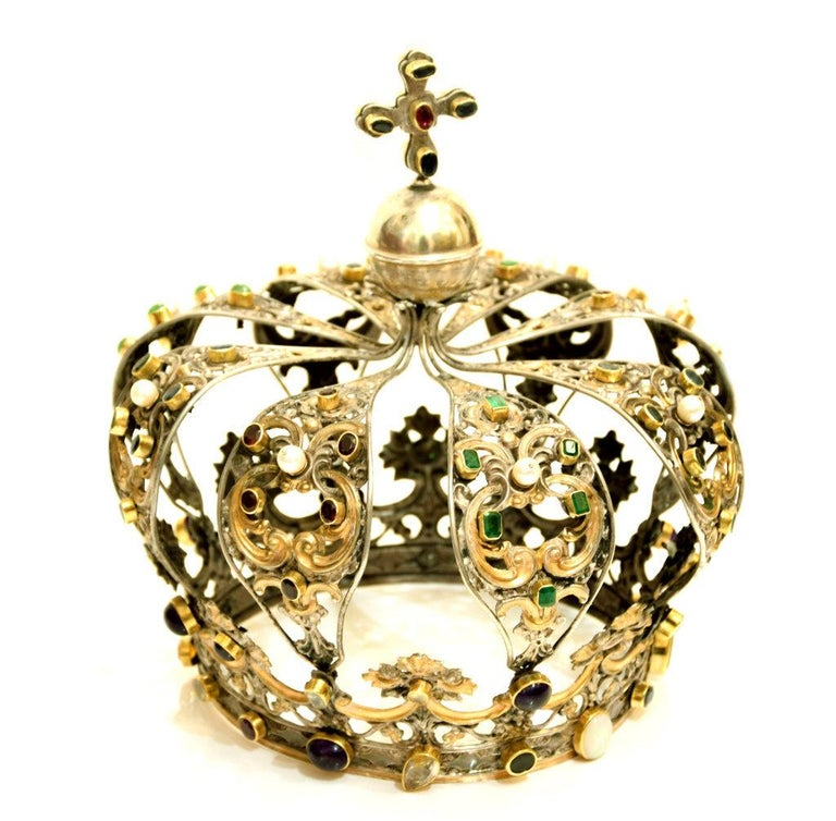 Antique Neapolitan Crown, Handmade in Italy, 18th Century In Good Condition For Sale In Roma, IT