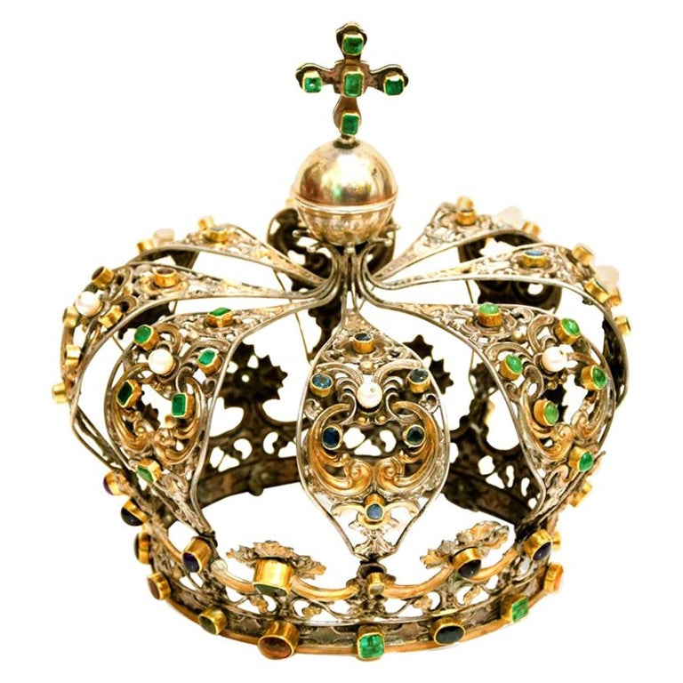Antique Neapolitan Crown, Handmade in Italy, 18th Century For Sale