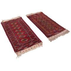 Antique Near Pair, Bokhara Rugs Turkoman Tekke Carpet, Wall Covering, circa 1910