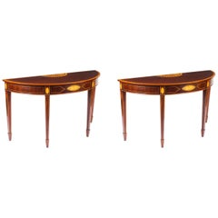 Antique Near Pair of Mahogany and Satinwood Inlaid Side Console Tables