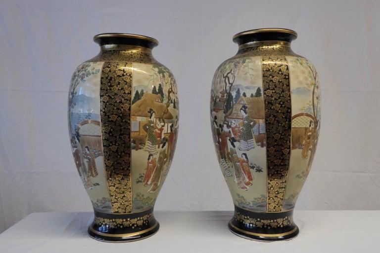 19th Century Antique Near Pair of Meiji Period Satsuma Vases, Japanese, 1868-1912 For Sale