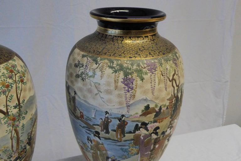 Antique Near Pair of Meiji Period Satsuma Vases, Japanese, 1868-1912 For Sale 2