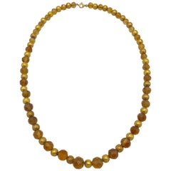 Antique Necklace Gold Citrine Beads