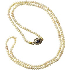 Basra Sea Pearl Necklace with Sapphire and Diamond Clasp
