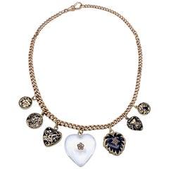 Antique Necklace Rock Crystal Diamonds Heart Enamel Hearts Enamel Lockets