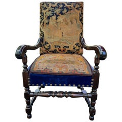 Antique Needlepoint Arm Chair in Blue and Gold