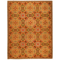 Antique Needlepoint English Rug. Size: 7 ft 5 in x 9 ft 7 in (2.26 m x 2.92 m)