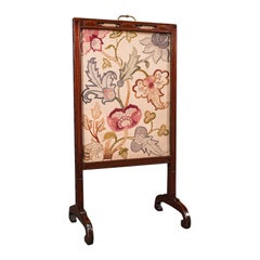 Antique Needlepoint Fire Screen, English, Mahogany, Fireside Guard, Regency