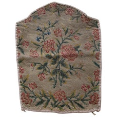 Antique Needlepoint Floral Back Seat Tapestry Fragment