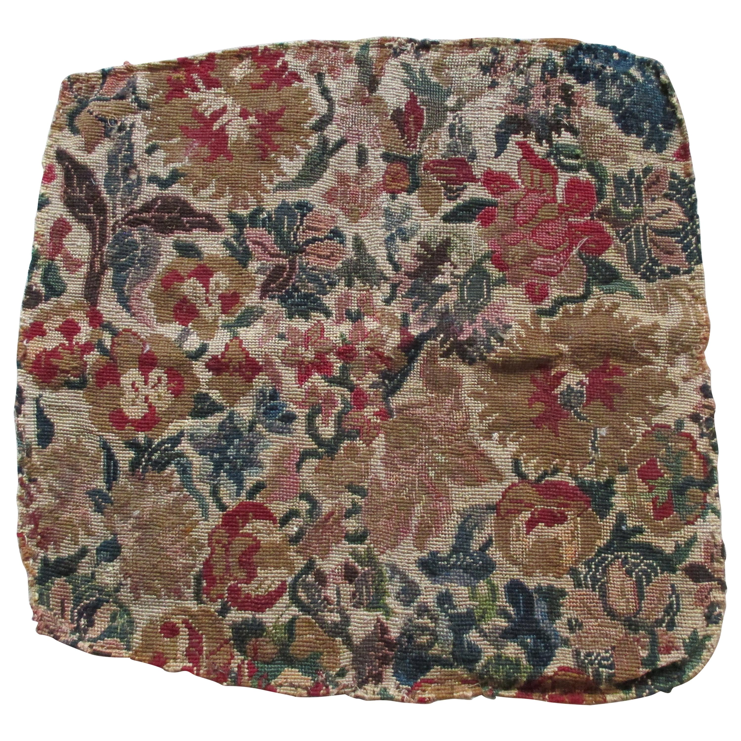 Antique Needlepoint Floral Tapestry Seat Cover