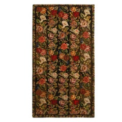 Antique Needlepoint Green Multi-Color Wool Floral Rug