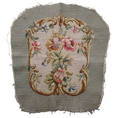 Antique Aubusson Tapestry Fragment Chair Back Cover