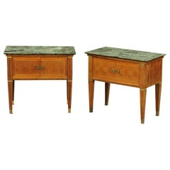 Antique Neoclassical Italian Marble-Topped Bedside Cabinets