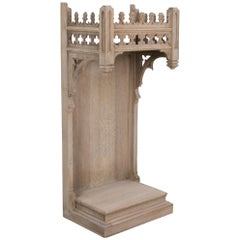 Antique Neo-Gothic French Oak Pedestal