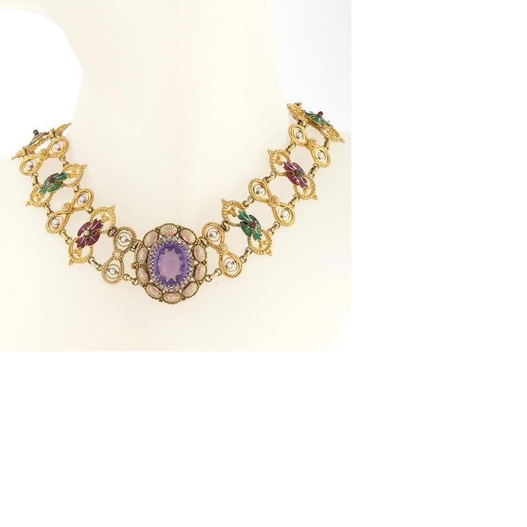 Renaissance Revival Antique Neo-Renaissance Enamel Pearl Amethyst Diamond Gold Necklace For Sale