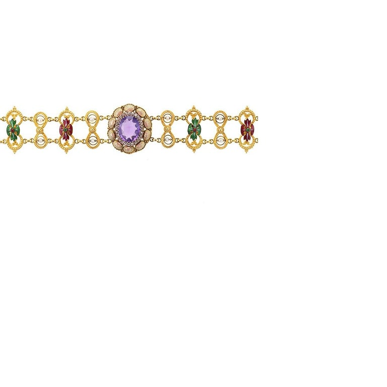 Antique Neo-Renaissance Enamel Pearl Amethyst Diamond Gold Necklace In Excellent Condition For Sale In New York, NY
