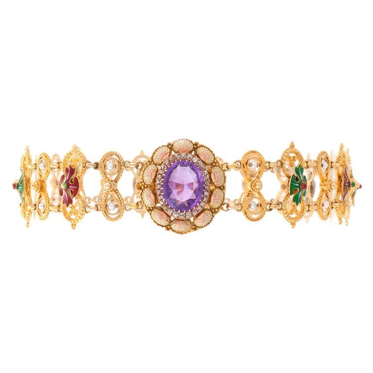 Antique Neo-Renaissance Enamel Pearl Amethyst Diamond Gold Necklace For Sale