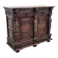 Antique Neo Renaissance French Oak Cabinet, 1880