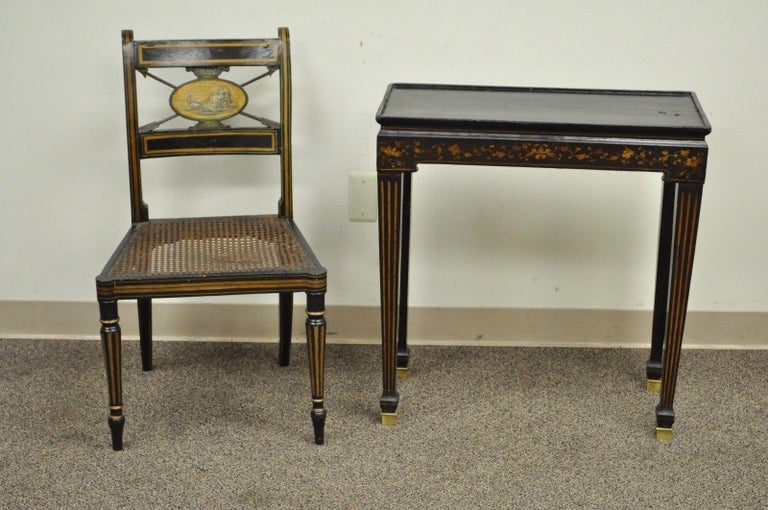 Miraculous Antique Neoclassical Black Lacquered Desk Telephone Table Stand And Accent Chair Onthecornerstone Fun Painted Chair Ideas Images Onthecornerstoneorg