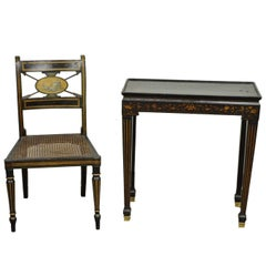 Antique Neoclassical Black Lacquered Desk Telephone Table Stand and Accent Chair