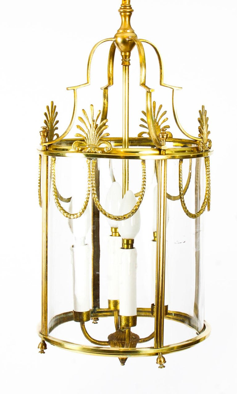 Antique Neoclassical Brass Hanging Lantern, 19th Century For Sale 6