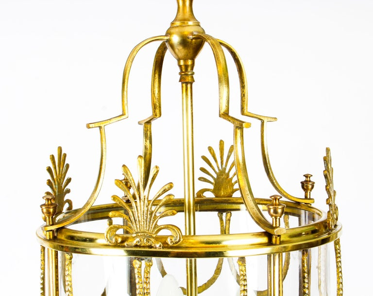Antique Neoclassical Brass Hanging Lantern, 19th Century In Good Condition For Sale In London, GB