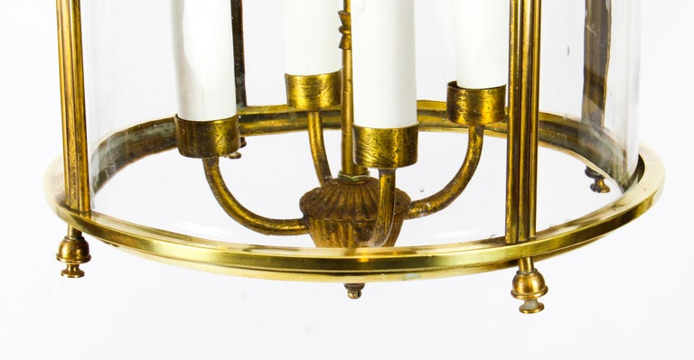 Antique Neoclassical Brass Hanging Lantern, 19th Century For Sale 2