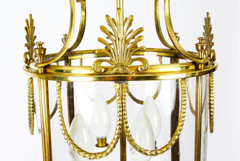 Antique Neoclassical Brass Hanging Lantern, 19th Century For Sale 4