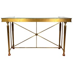 Antique Neoclassical Bronze Bank Table with Beveled Mirrors, French, circa 1900