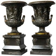 Antique Neoclassical Bronze Barbedienne School Urns, circa 1880