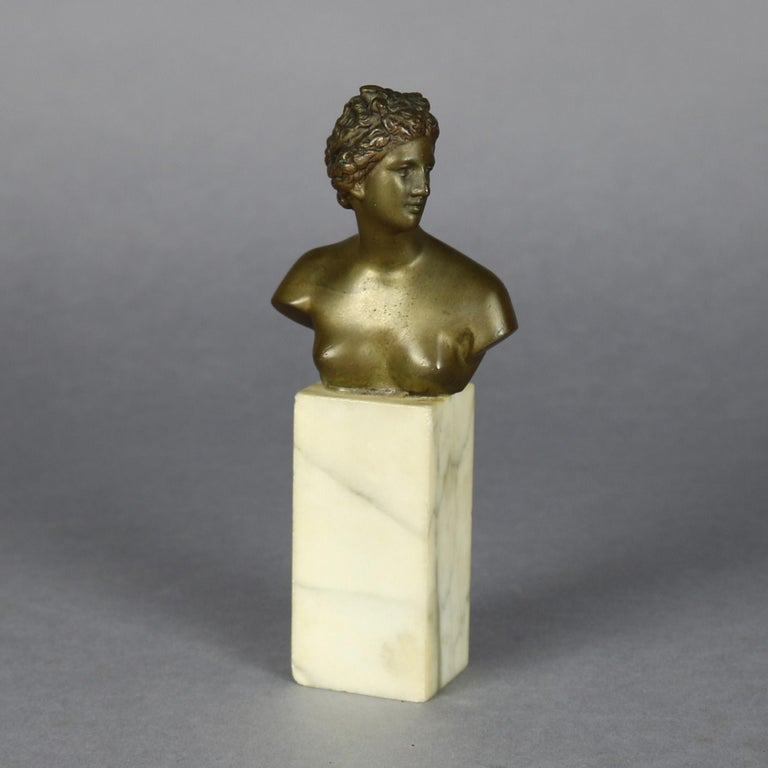 Classical Greek Antique Neoclassical Bronze Portrait Sculpture of Greek Artemis on Marble For Sale