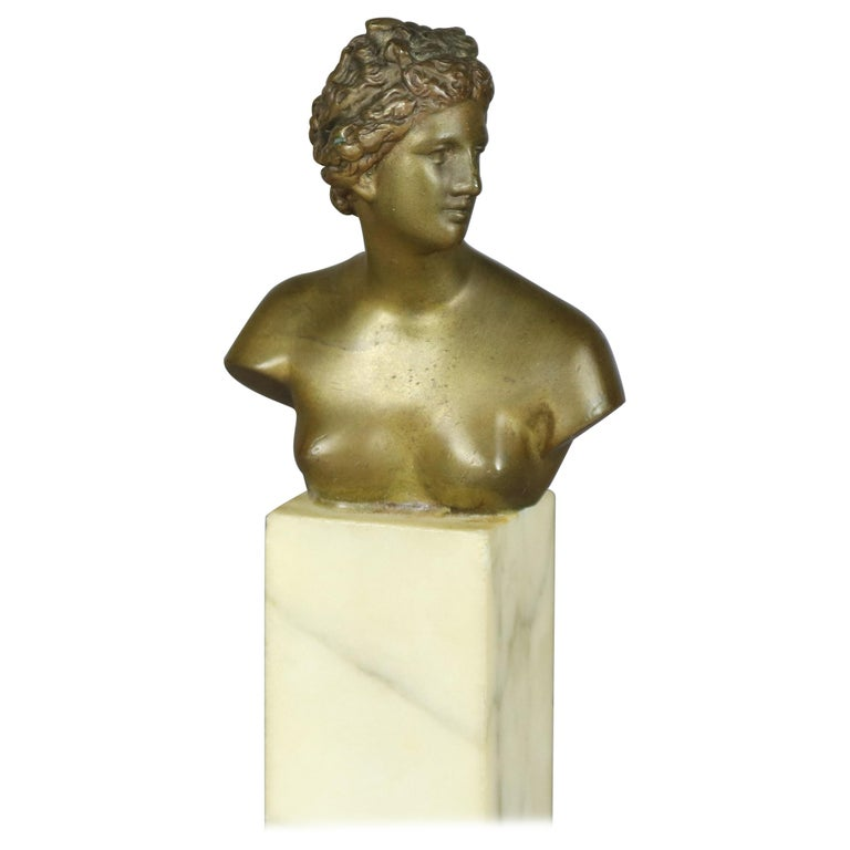 Antique Neoclassical Bronze Portrait Sculpture of Greek Artemis on Marble For Sale