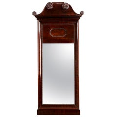 Antique Neoclassical Carved Mahogany Wall Mirror, 19th Century