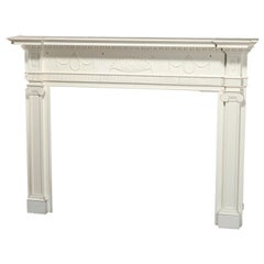 Antique Neoclassical Carved and White-Painted Fireplace Mantel, 20th Century