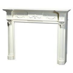 Antique Neoclassical Carved & White-Painted Fireplace Mantel, Corinthian, 20th C