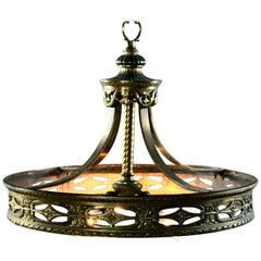 Neoclassical Cast Bronze Three-Light Scroll and Foliate Chandelier, 19th Century