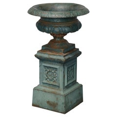 Antique Neoclassical Cast Iron Garden Urn, 20th Century